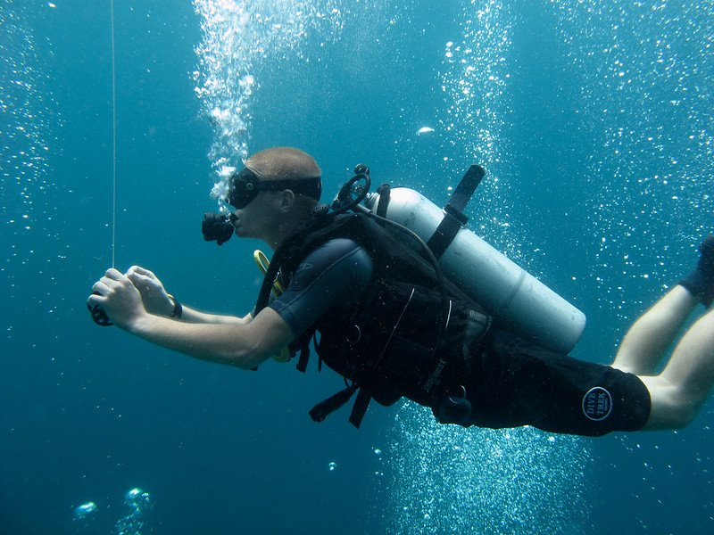 Diver doing tec safety stop in Gozo, Malta