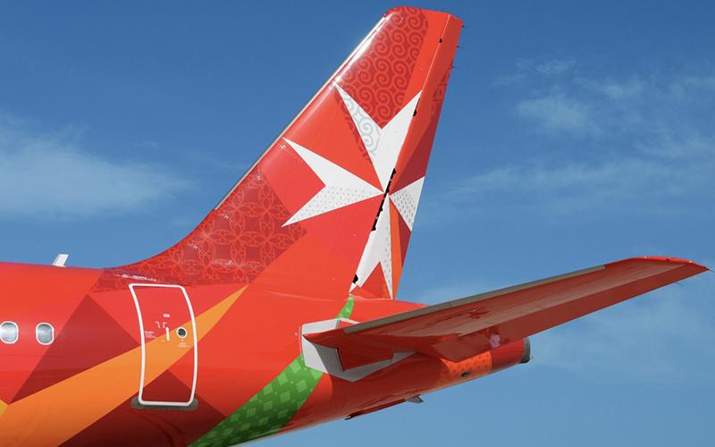 Air Malta logo on airplane tail