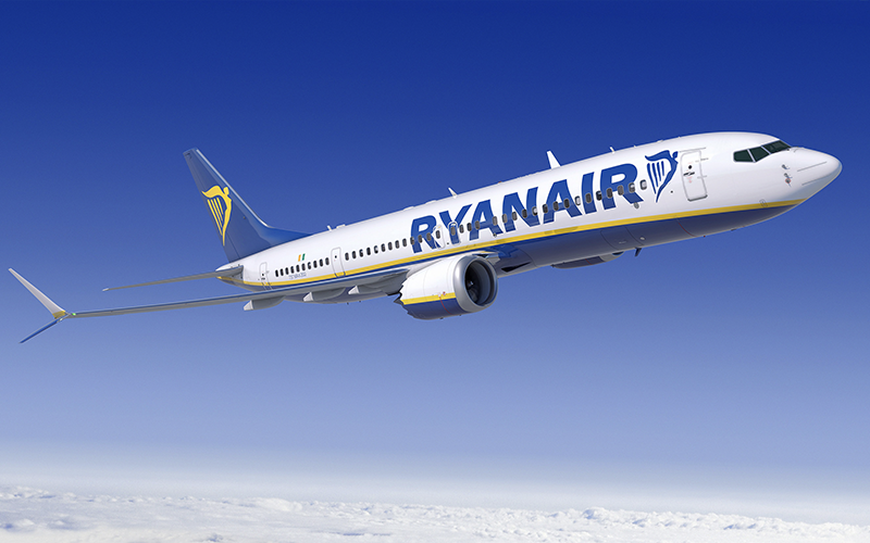 Ryanair airplane in sky
