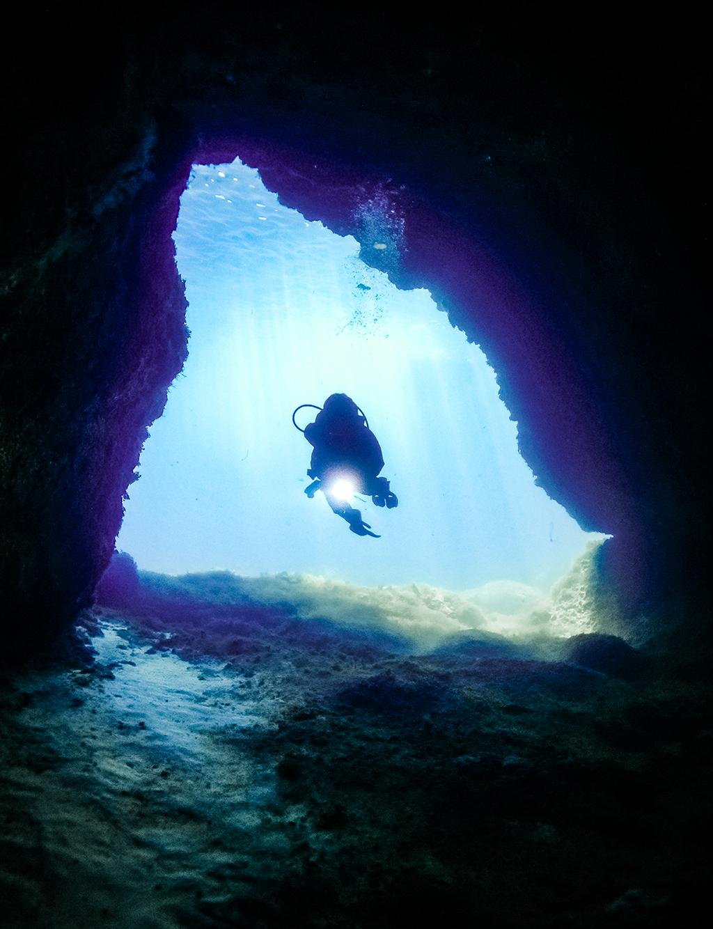 Cave Diver in Gozo, Malta